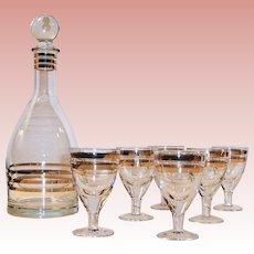 Vintage USSR Gold Trimmed Crystal Decanter and Five Excellent Cordial Glasses