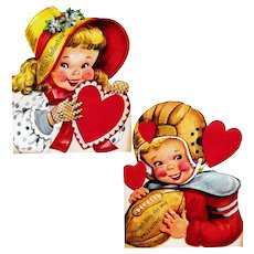 Large Pair of Vintage 1950's Valentines: Girl in Bonnet, Boy with Football