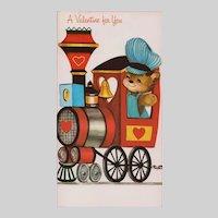Unused Vintage Teddy Bear & Train Valentine's Day Card