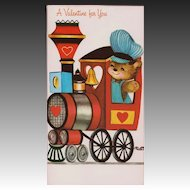 Unused Vintage Teddy Bear & Train Valentine's Day Card