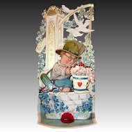 Large Winged Heart Butterfly Catcher Vintage Fold Out Valentine
