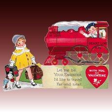 Vintage 1920 to 30's Valentine Steam Train Engine Engineer