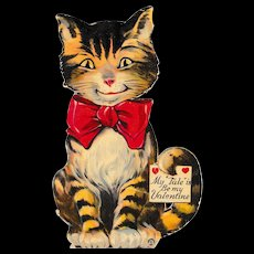 Large 1920's Louis Katz Cat Valentine