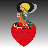 Large 1921 Louis Katz Flapper Girl Art Deco Valentine