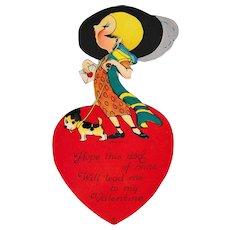 "Large 8"" x 4"" 1921 Louis Katz Flapper Girl Art Deco Valentine"