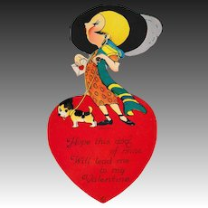 Large 1921 Louis Katz Flapper Girl Art Deco Valentine