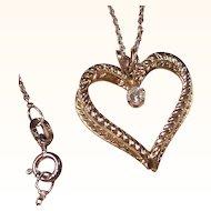 Double Heart Pendant & Crystal Rhinestone Valentine Necklace