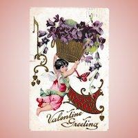 Antique c. 1909 Valentine Postcard Cupid Cherub Violets