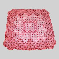 Large Red, White, & Gold Hearts Valentine's Day Hankie