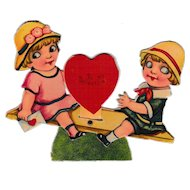 1920's Mechanical See Saw Googly Eyed Kids Valentine