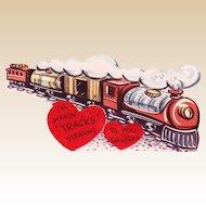 Vintage Valentine Train Steaming Down the Tracks