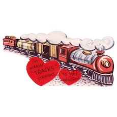 Vintage Valentine Train Steaming Down the Tracks