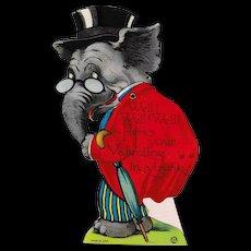 Vintage 1925 Louis Katz Mechanical Elephant Valentine