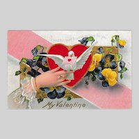Antique Edwardian Valentine Postcard: Hearts and Dove