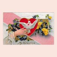 Antique Edwardian Valentine Postcard: Hearts and Dove