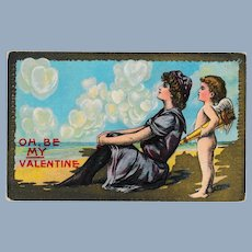Early Cupid at the Beach Valentine Postcard
