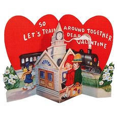 Large Vintage 1930's Pop Up Train Station Valentine Excellent!