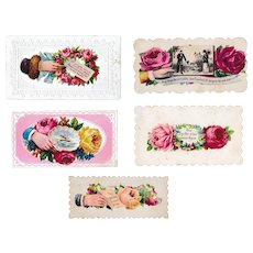 Five Victorian Embossed Roses Calling Cards