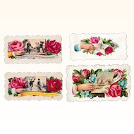 Four Victorian Embossed Roses & Hands Calling Cards