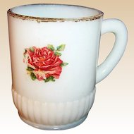 Victorian Milk Glass Mug with Rose