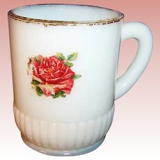 Victorian Milk Glass Mug with Rose