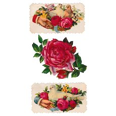 Two Victorian Doves & Roses Calling Cards  with Red Rose Scrap