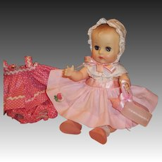 "1950's Vogue 8"" Ginnette Baby Doll: Bonnet, 2 Dresses, Shoes, Socks, Diaper, Sleep Sack, Bottle"