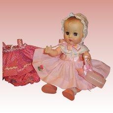 """1950's Vogue 8"""" Ginnette Baby Doll: Bonnet, 2 Dresses, Shoes, Socks, Diaper, Sleep Sack, Bottle"""