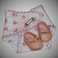 Vogue 1950's Ginnette Doll Baby Pink Rose Bud Diaper and Pink Shoes