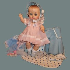 """1950'S VOGUE 8"""" Ginnette Baby Doll & Her FIRST Outfit, a Party Dress, Coat & Bonnet, Sleeper, Diapers and more..."""