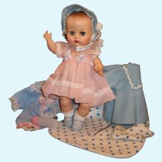 1950'S VOGUE Ginnette Baby Doll & Her FIRST Outfit, a Party Dress, Coat & Bonnet, Sleeper, Diapers and more...