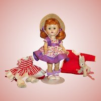 1955 Vogue Ginny; Tiny Miss Outfit, Night Shirt & Cap, Candy Cane Striped Christmas Dress & More....