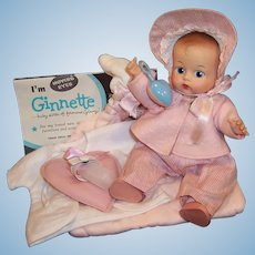1950'S VOGUE Ginnette Baby Doll (Painted Eye) Tagged Outfit with Bonnet, Tagged Hooded & Quilted Bunting, Brochure and more...