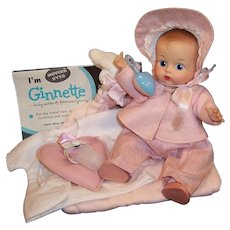 1950'S VOGUE Ginnette Doll (Painted Eye) Tagged Outfit with Bonnet, Tagged Hooded & Quilted Bunting, Brochure and more...