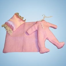 Vogue Ginny Pink Footed Pajamas with Matching Blanket, Pillow