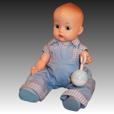 Vogue Jimmy Twin Doll, Overalls & Shirt # 4131, Rattle, Diaper & more