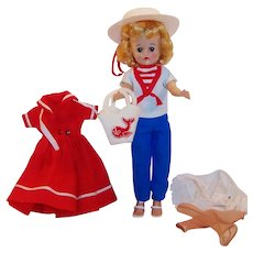 Excellent 1950's Vogue Jill Doll w/ Sailor Dress  (#3166) & Nautical Outfit #3133)