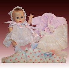 Vintage 1957 Vogue Ginnette Doll 2 Dresses, 2 Bonnets, Coat, Slip, Diaper, Sleeper, Shoes, Socks, ID Necklace, Bottle