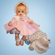 Vintage 1957 Vogue Ginnette Doll  Dress, 2 Bonnets, Coat, Slip, Diaper, Sleeper, Shoes & Socks