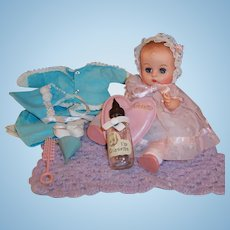 Excellent! 1950's Vogue Ginnette Doll with Dress, Bonnet,  Snowsuit, Shoes, Socks, Robe, Diaper, Glass Bottle, Heart Pillow and more...
