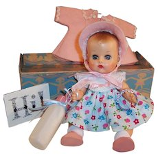 """Beautiful!  1950's Vogue 8"""" Ginnette Baby Doll, Box, Name Bracelet, Dress, Coat, Bonnet, Shoes, Diaper  and more...."""