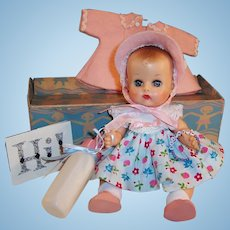 "Beautiful!  1950's Vogue 8"" Ginnette Baby Doll, Box, Name Bracelet, Dress, Coat, Bonnet, Shoes, Diaper  and more...."