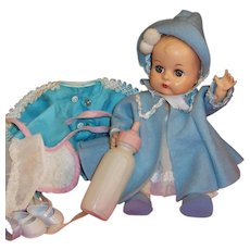 "1950's Vogue 8"" Ginnette Baby Doll: 2 Bonnets, Dress, Coat, Snowsuit, Shoes, Socks, Diaper, Bottle"