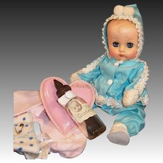ON LAYAWAY:1950's Vogue Ginnette Doll with Snowsuit, Shoes, Socks, Pajamas, Diaper, Glass Bottle and Heart Pillow
