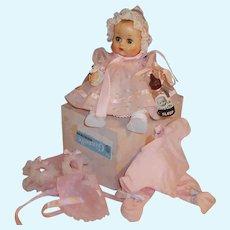 1950'S VOGUE Ginnette Baby Doll, Working Squeaker, Box, Dress, Romper, Bonnets, Bottle, Shoes, Socks & more...