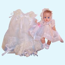 Vogue Ginnette Painted Eye Baby Doll: Frilly Party Dress & Bonnet, Christening Gown & more....