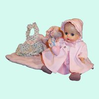 Gorgeous! 1950'S VOGUE Ginnette Doll; Pink Party Dress, Bonnet & Coat, Romper, Bunting, Rattler and more....
