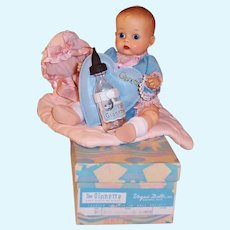 Boxed 1955 Vogue Ginnette Doll #001 Blue Sacque Blouse & Diaper Cover, Quilted Bunting, Bottle, Holder, Name Bracelet & more...