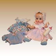 1957 Beautiful Vogue # 7678 Tearing Sleep Eye Ginnette Doll: 2 Dresses, Bonnet, Sleeper Sacque, Shoes, Socks and more
