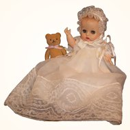 So Pretty! Vogue Sleep Eye Ginnette  & 1956 Excellent Christening Gown Set # 6512
